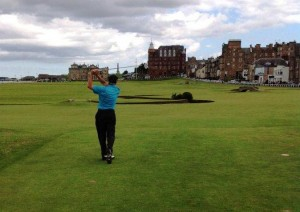 18 tee shot Old Course